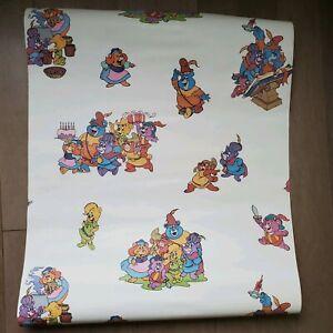Vintage-1985-Disney-Robin-Hood-Bears-Anime-Vinyl-Kids-Wallpaper-Roll-Decoupage