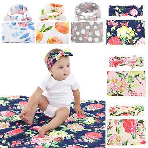 Newborn Swaddle Blanket Baby Boys Girls Sleeping Bag Wrap Headband Cloth Cute UK