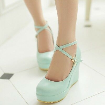 Sweet Women's Lolita Round Toe High Heel Ankle Cross Strap Platform Wedge Shoes