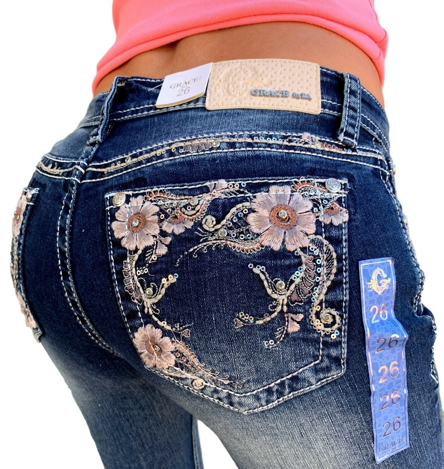 Grace In LA Capris Mid Rise Easy Relaxed Cropped Stretch Jeans Festival Flowers