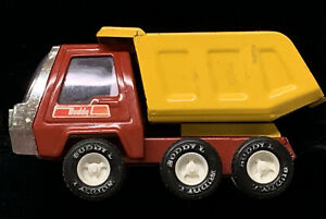 Vintage-1960-039-s-Buddy-L-Toy-Truck-Dump-Truck-Pressed-Steel-Red-And-Yellow-8-Nice