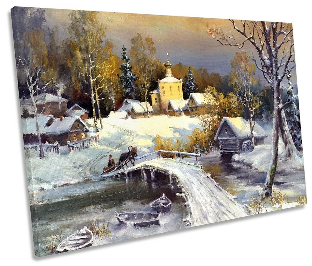 Rural Landscape Winter Repro Framed SINGLE CANVAS PRINT Wall Art