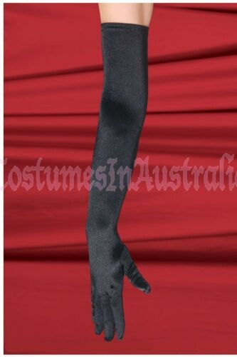 Womens Long Opera Satin Lycra Gloves one size fits more black red white 6-12