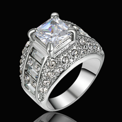 Taille 9 Homme 10K or Blanc rempli Trendy White Topaz engagement Fashion Ring