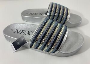 Women-039-s-Next-Silver-Sliders-Flip-Flops-Beach-Garden-Slip-On-Sandals-18-00