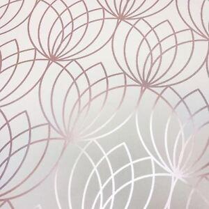Lotus-Papier-Peint-Geometrique-Dore-Rose-Muriva-148503-Metallique
