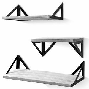 Set of 3 Rustic Shelves Floating Wooden Shelving Fixings Included