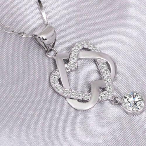 925 Chapado en Plata Moda Mujer Doble Corazón Colgante Collar Cadena Joyería Nuevo