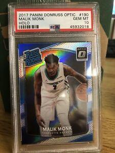 2017-18-Donruss-Optic-Holo-190-Malik-Monk-Charlotte-Hornets-RC-Rookie-PSA-10