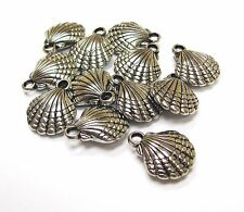12 Silver tone Nautical Sea Shell Jewelry Making New 20 x 20 mm DIY Making