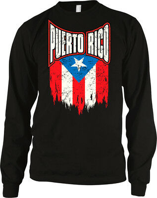 Puerto Rico Strong Back Print Long-Sleeved Hoody Men