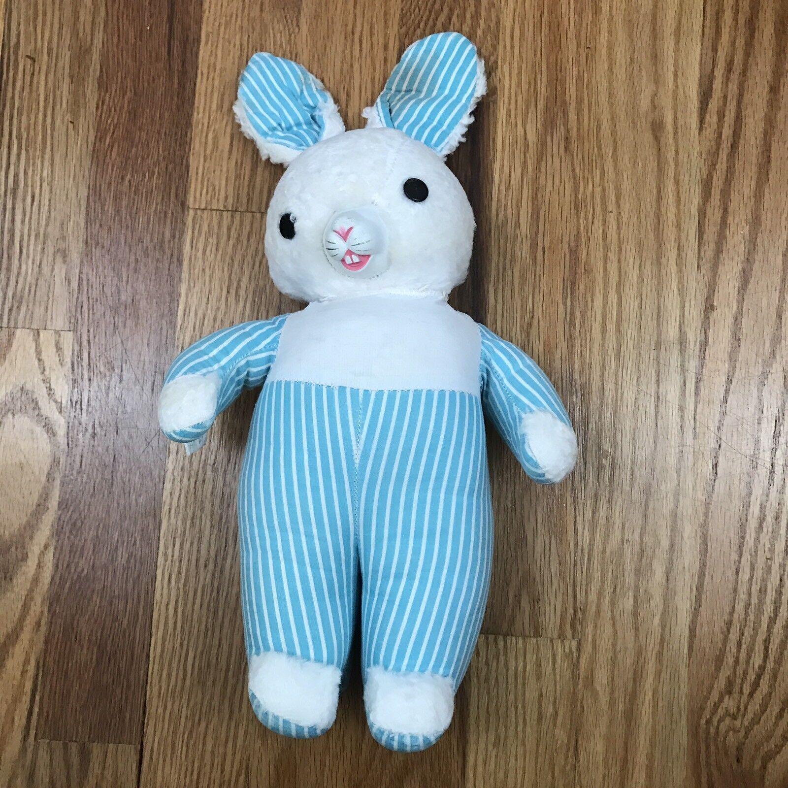 VTG Gund Blau Striped Bunny Hard Rubber Face Swedlin 40s 50s Easter