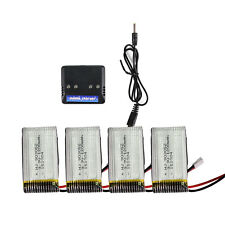 4pcs Syma X5SW X5SC 3.7V 1200mAh 25C Lipo Battery RC Drone Parts w/ Charger