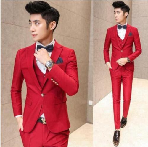 New Men Awesome Slim Fit Tuxedo Groom Formal Suit Jacket Vest Pants Wedding R335