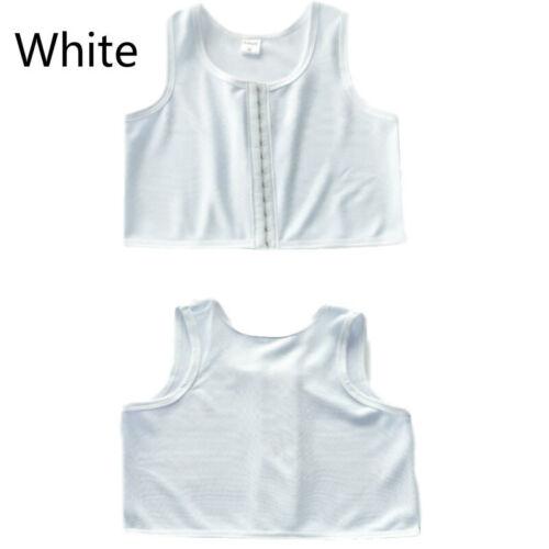 Lesbian Chest Binder Front Buckle Tomboy Short Undershirt Tank Top Cosplay White