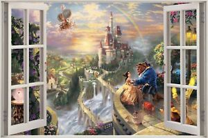 Huge-3D-Window-view-Fantasy-Castle-Princess-Prince-Wall-Sticker-Decal-938