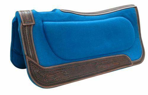Showman ®  32  x 32  Teal felt built-up pad with basket tooled trim