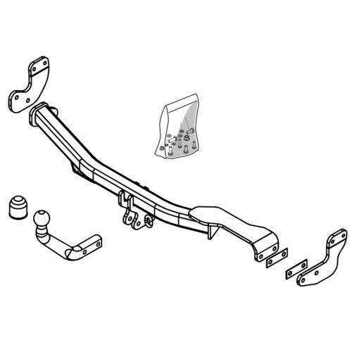 Cuello de Cisne Barra de remolque Brink Gancho de remolque para Citroen C3 Hatchback 2002-2009