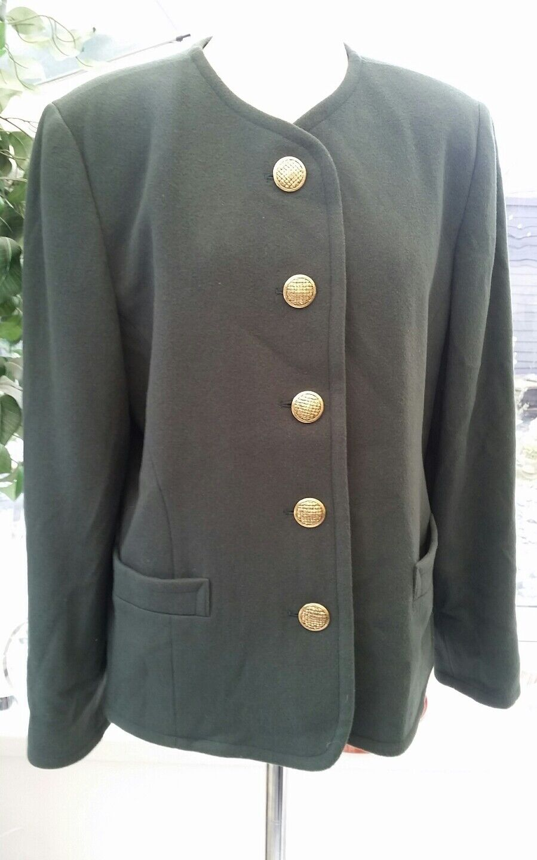 Lampert By Admyra Bottle Green Wool Coat Size 14. 20% Cashmere 65% virgin wool