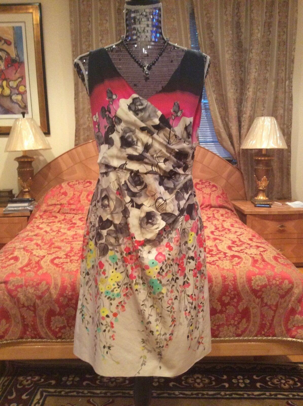 02347f57e28 ROMANTIC ELEGANT VALENTINO floral print draped details cotton silk Dress