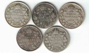 5-X-CANADA-TEN-CENTS-DIMES-KING-GEORGE-V-SILVER-COINS-1917-1918-1919-1920-1921