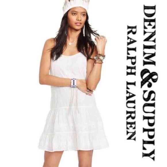 Denim & Supply Ralph Lauren Women New White Cotton Embroidered Babydoll Dress M