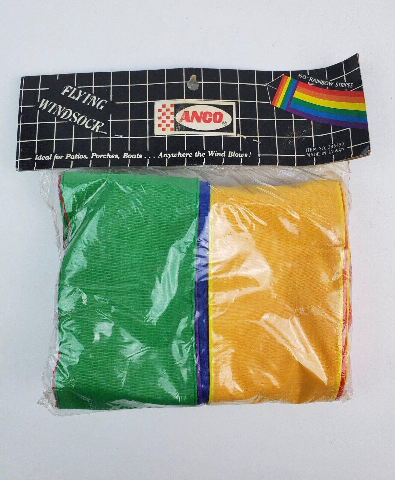 Vintage Anco Rainbow Striped Flying Windsock 60