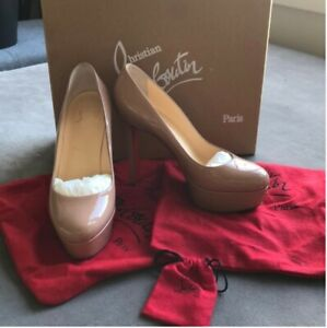 3f83bded5f6 Image is loading Christian-Louboutin-Bianca-120-patent-nude-calf-37-