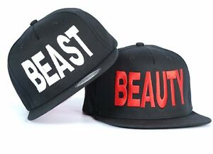 9beda25ee75dc Image is loading BEAUTY-BEAST-COUPLE-SNAPBACK-HAT-CAP-EMBROIDERED-IDEAL-