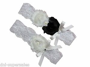 Image Is Loading Black White Bridal Wedding Garter Set Keepsake Toss