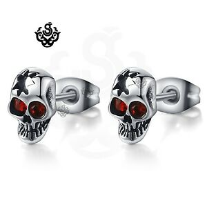 Silver-stud-made-with-swarovski-crystal-stainless-steel-skull-earrings-Gothic