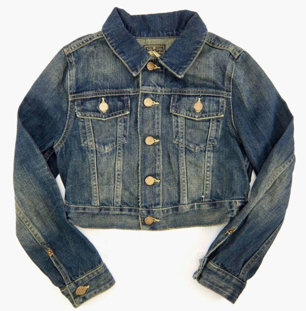 63a9a9cc4dc Polo Ralph Lauren Girls Jacket Blue Distressed Denim Cropped Cotton Size 10  New
