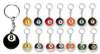 16 Assorted Billiards Pool Ball Key Chain Keychains Wholesale Lot -us Seller