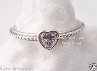 ONE LOVE Authentic PANDORA Sterling Silver/HEART CZ Stone RING 7~54 NEW IN BOX