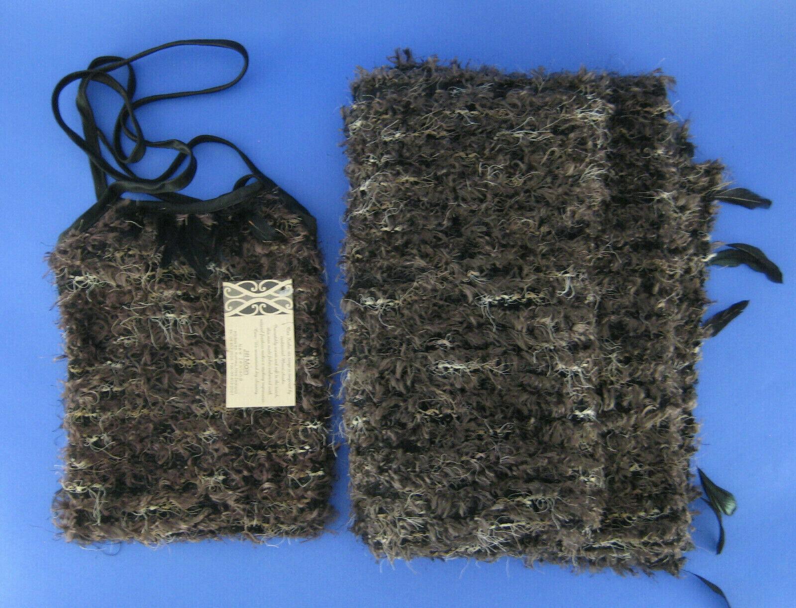 Jill Main New Zealand Lap Blanket Cloak with Shoulder Bag Handbag Feather Trim