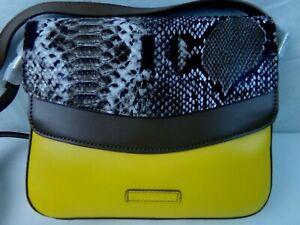Vera-Bradley-Yellow-Maize-Twice-as-Nice-Crossbody-Hand-Bag-Faux-Leather-Animal