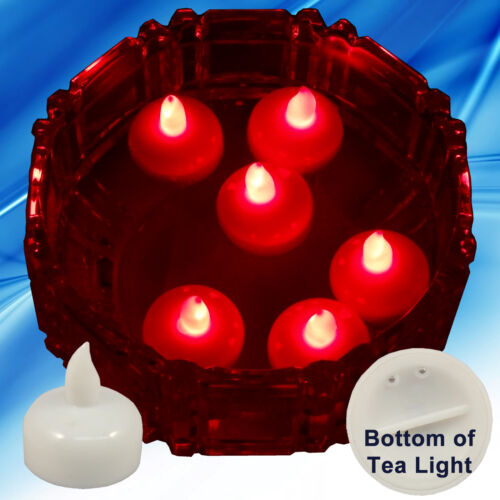 NEW 18 Red Led Floating Floral Tea Light Candle for Wedding Centerpiece Decor