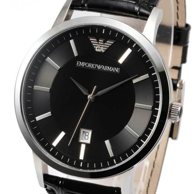 Emporio Armani Men's Super Slim AR2411 Black Leather Analog Quartz Fashion Watch