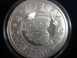 .999 fine silver round 1oz 2014   Merry Christmas Garfield  W/case