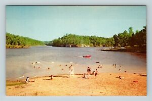 Chrome-View-of-Beach-Lake-Malone-State-Park-Dunmor-KY-Postcard-X26