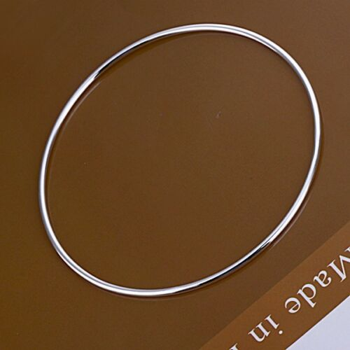 925 Plata PLT Simple Liso Delgado Pulsera//Brazalete Para Hombre//Damas Regalo esclavo * Reino Unido