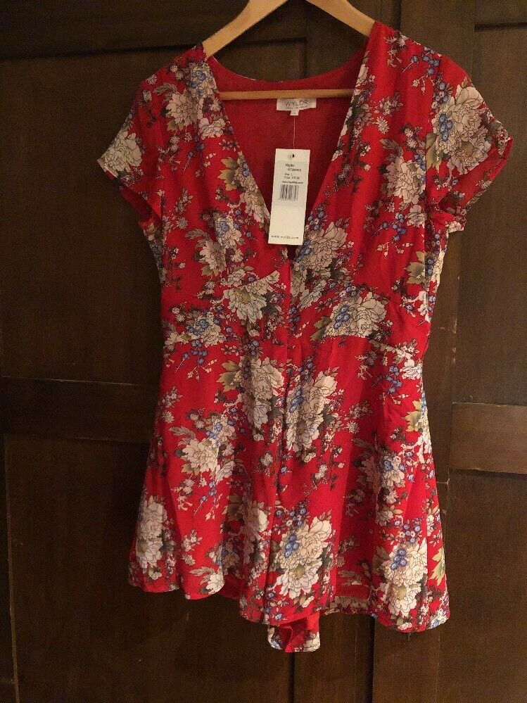 Wyldr For Topshop Red Floral Playsuit Size L BNWT