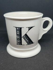 Anthropologie Monogram K Mug Initial Letter Coffee Tea Cup Shaving Style Cup