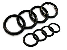 Audi Rings Gloss Black Grill+Trunk A3 S3 A4 S4 RS4 A5 S5 A6 S6 TT Badge Emblem -