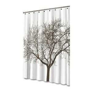 Details About Splash Home Tree White Chocolate Brown Branches Fabric Shower Curtain NEW