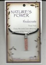 "NATURE'S POWER ""RHODOCROSITE"" PENDANT ON BLACK CORD WITH HEALING PROPERTIES"