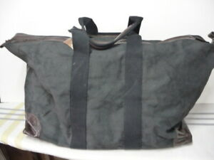 Pottery Barn Union Canvas Weekender Bag Black Leather Ebay