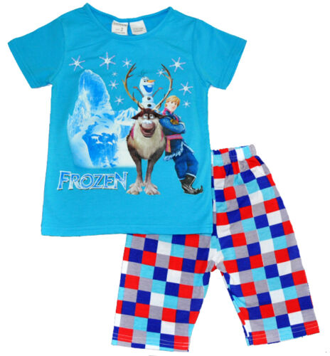 NEW SZ 26 KIDS SUMMER PYJAMAS DISNEY FROZEN BOYS BLUE SLEEPWEAR CHILDREN PJS