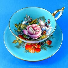 Very Rare Exquisite Signed Handpainted Blue & Floral Aynsley Tea Cup and Saucer