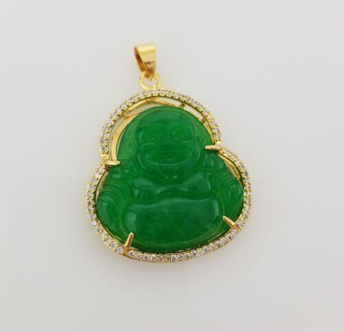 Hommes 18k Or Plaqué CZ vert jade buddha pendentif chaîne Collier